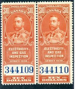 van Dam FEG7 - CARIS CAEL29Mh2 - MNH horizontal pair - $10 - Electricity and Gas