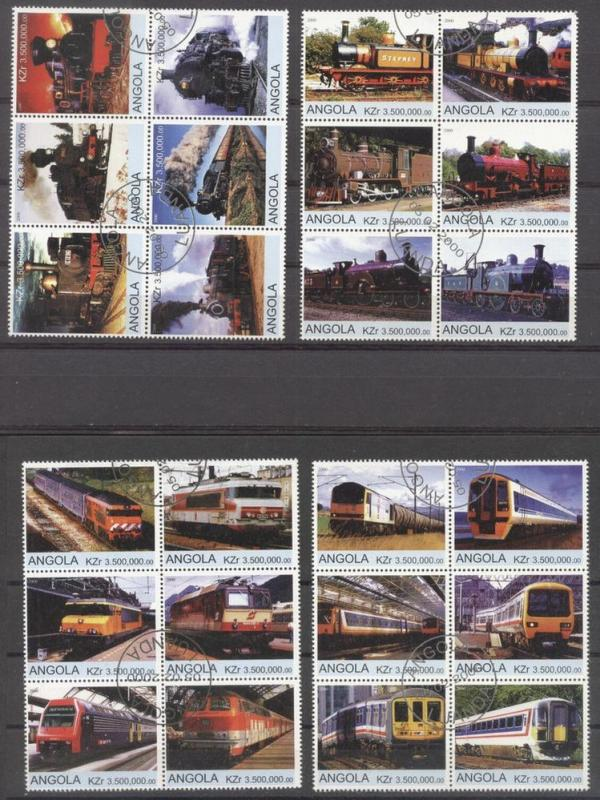 Angola 2000 Trains, 4 blocks, used     AS.096