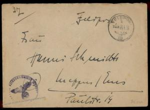 3rd Reich Germany 1948 Kriegsmarine Navy Ship Destroyer Z28 Feldpost Cover 74333