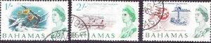 BAHAMAS 1965 QEII 3 Off 1/-,2/-,5/- Definitives SG256/257/259 FU