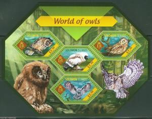 SOLOMON ISLANDS  2014 WORLD OF OWLS  SHEET  MINT NH
