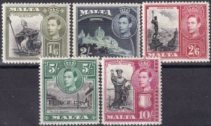 Malta #201-5  F-VF  Unused CV $28.75  (Z1658)