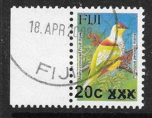 FIJI SGF1362 2008 20c on 23c BIRDS TYPE IIIh SURCHARGE USED