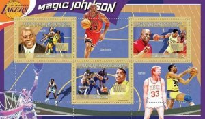 Basketball Stamp Magic Johnson Michael Jordan Larry Bird Sport S/S MNH 6710-6712