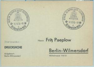 68172 - GERMANY - POSTAL HISTORY - CARD - 16.8.1936 Olympic postmark: BERLIN d