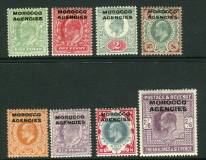 MOROCCO AGENCIES-1907-13  A mounted mint set to 2/6 Sg  31-38