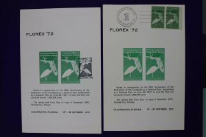 FLOREX 1972 Florida Everglades US 952 reprint cancelled Philatelic Souvenir card
