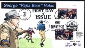 Beautiful Pugh Designed Special cancels/stamps Papa Bear Halas  #8 of only 11