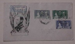 TURKS & CAICOS  KING GEORGE VI CORONATION 1937  REGISTERED FDC  CACHETED
