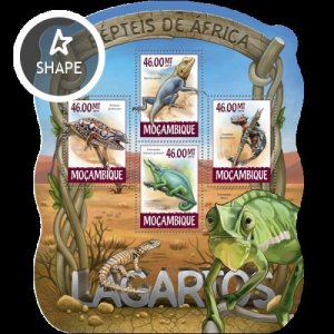 Mozambique MNH S/S Lizards Reptiles 2015 4 Stamps