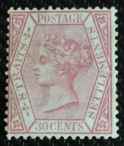 Malaya Straits Settlements 1867 QV 30c MNG Wmk CC SG#17 M3059