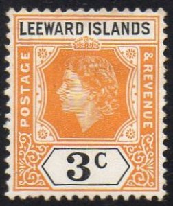 Leeward Islands 1954 3c yellow-orange and black MH