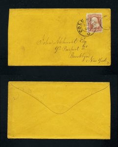 # 65 on cover from Columbus, Ohio to Brooklyn, New York - 9-20-1860's