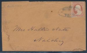 #11 VF ON COVER TO NATCHEZ, MISS. W/ BLUE ROUTE 7309 CANCEL RARE STRIKE BT1086