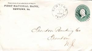 United States Pennsylvania Newtown 1878 double ring cds, bar grid  Postal Sta...