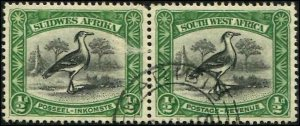 South West Africa SC# 108 Kori Bustard,1/2d PAIR, used