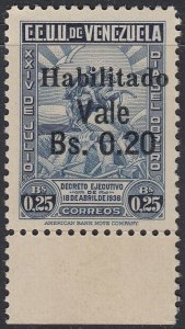 Venezuela 1943 20c on 25c Blue Marginal. MNH unmounted. Scott 387, SG 657