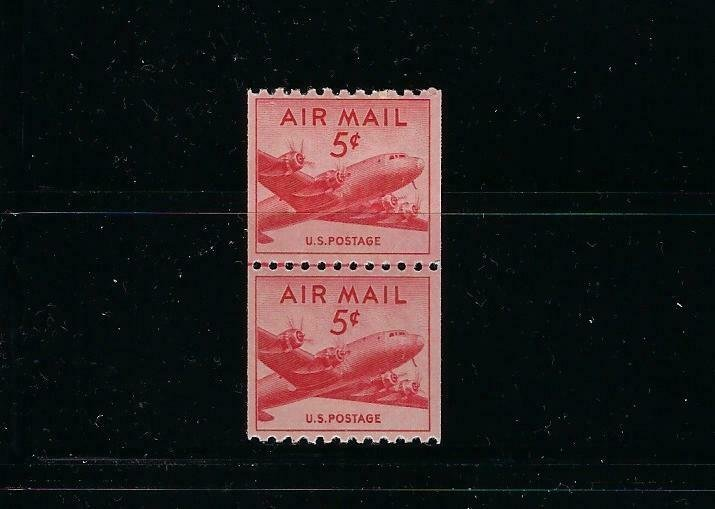 US #C37 1948 AIR MAIL 5 CENTS- COIL  JOINT LINE PAIR - MINT NEVER HINGED