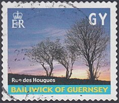 Guernsey # 742b used ~ (GY) View of Rue des Hougues, Trees