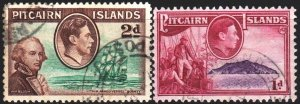 Pitcairn Islands. 1940. 2-4 from the series. Sailboats, Captains Bligh and Fl...