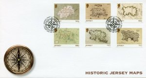 Jersey Cartography Stamps 2021 FDC Historic Jersey Maps Geography 6v Set