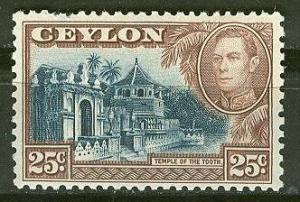 Ceylon # 284 King George VI 25c. Pictorial (1)  Unused