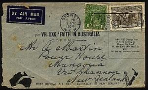 AUSTRALIA 1934 first flight to New Zealand.......................72810