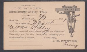 US Sc UX8 used 1887 Illustrated Advertising Postal Card, Porter's Hay Tools