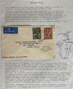 1936 Lagos Nigeria First Flight Airmail cover To London England Dempster Lines