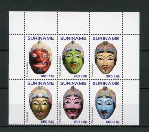 Suriname 2015 MNH Hand Painted Masks 6v Block Set Panji Maskers