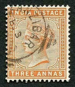 Zanzibar SGZ68 India 3a Brown Orange Squared Circle (type Z5)