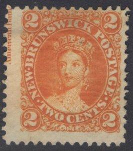 NEW BRUNSWICK 7 1863 2c ORANGE QUEEN VICTORIA UNUSED WITH INSCRIPTION
