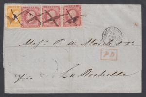 Norway Sc 2, 5 used on 1860 SFL CHRISTIANSUND-LAROCHETTE, Norwege-Quievrain CDS