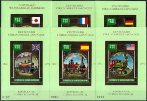 1972 Equatorial Guinea 100 Years Japanese Railways, 7 Sheets VF/MNH! CAT 135$