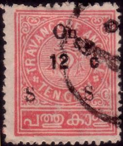 INDIA TRAVANCORE 1932 Official 12c on 10c SG080 fine used..................45385