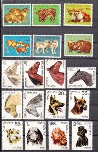 J27616 1970-2 romania sets mh #2209-14,2227-32,2315-20 animals