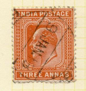 India 1902 Early Issue Fine Used 3a. 325942