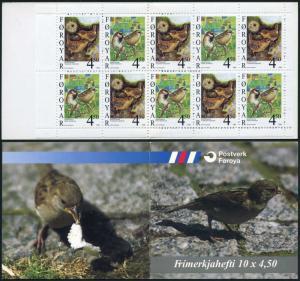 Faroe 351a booklet,MNH. Birds 1999.Passer domesticus,Troglodytes troglodytes.