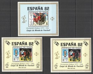 G0832 IMPERF CHAD FOOTBALL WORLD CUP 1982 !!! GOLD SILVER CHESS OVERPRINT MNH