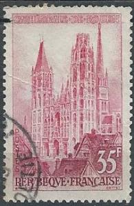France 854 (used, wrinkled) 35fr Rouen Cathedral