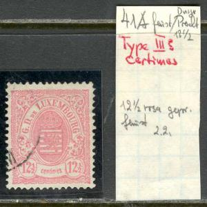 Luxembourg Scott 44. Michel 41A. PLATE FLAW CERTINES USED VF SCV$225+