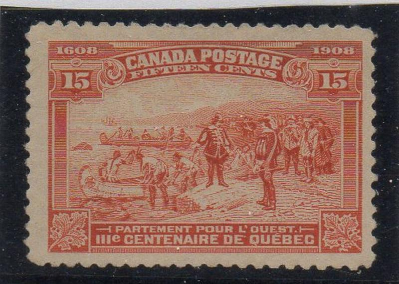 Canada Sc 102 1908 15c Champlain's Departure stamp mint VF
