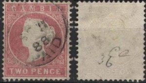 Gambia 7 (used, pencil mark) 2p Queen Victoria, rose (1880)