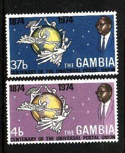 Gambia-Sc#304-5-Unused hinged set-UPU-1974-