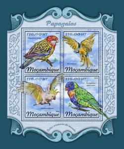 Mozambique Parrots Stamps 2018 MNH Macaws Rosellas Cockatoos Lorikeets 4v M/S