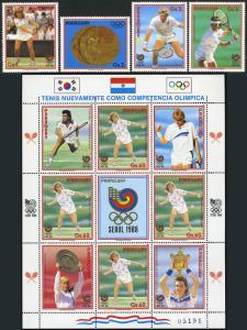 Paraguay 2260 A-D , 2261 M / S, mi 4257-4261, Mnh. Olimpico Tennis, Seoul, 1988
