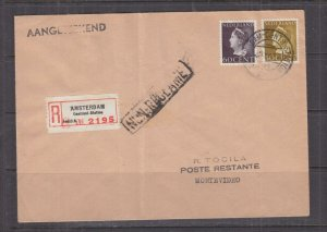 NETHERLANDS, 1946 Registered Airmail cover to Montevideo, Uruguay.