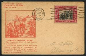 #651 ON ROESSLER FDC CACHET CARD 2/25/1929 VINCENNES, IND. CV $90 BU1372