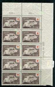FINLAND; 1943 early Red Cross issue fine Mint MNH CORNER BLOCK