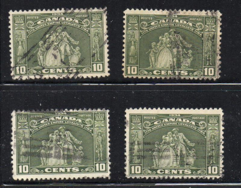 Canada 209 1934 10c United Empire Loyalists stamp 4used copies